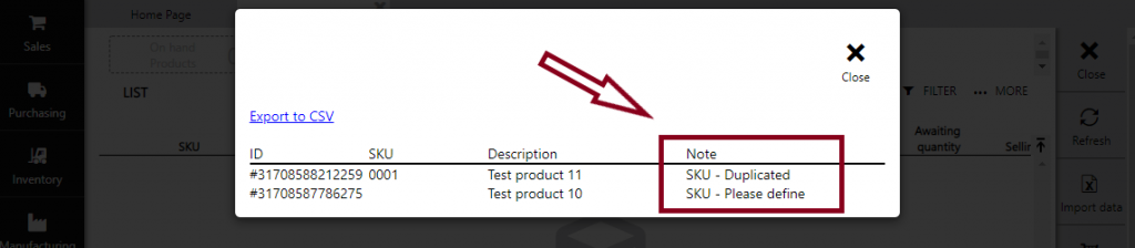 SKU errors