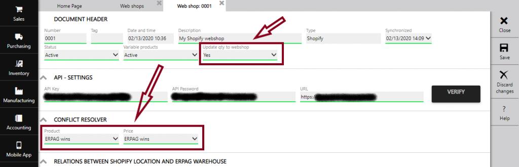 webshop settings