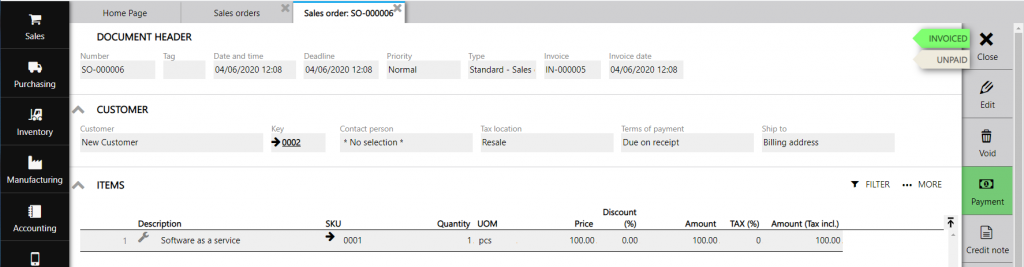 invoiced sales order