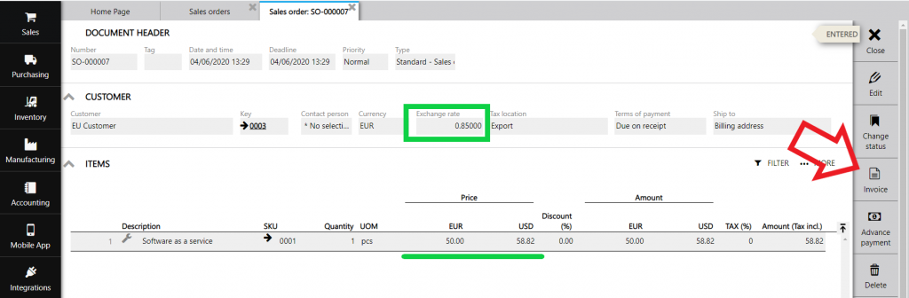 multiple currency sales order