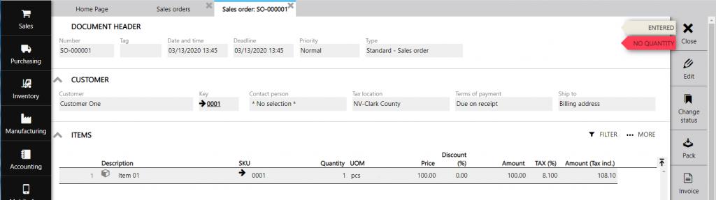 sales order 1