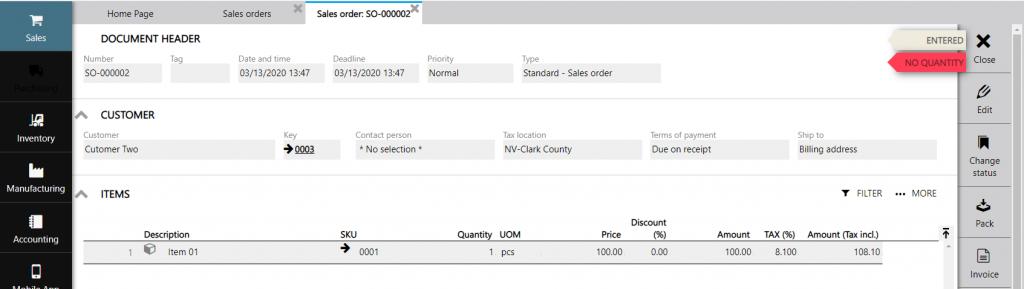 sales order 2