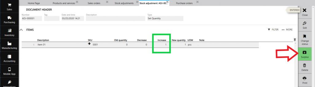 stock adjustment surplus