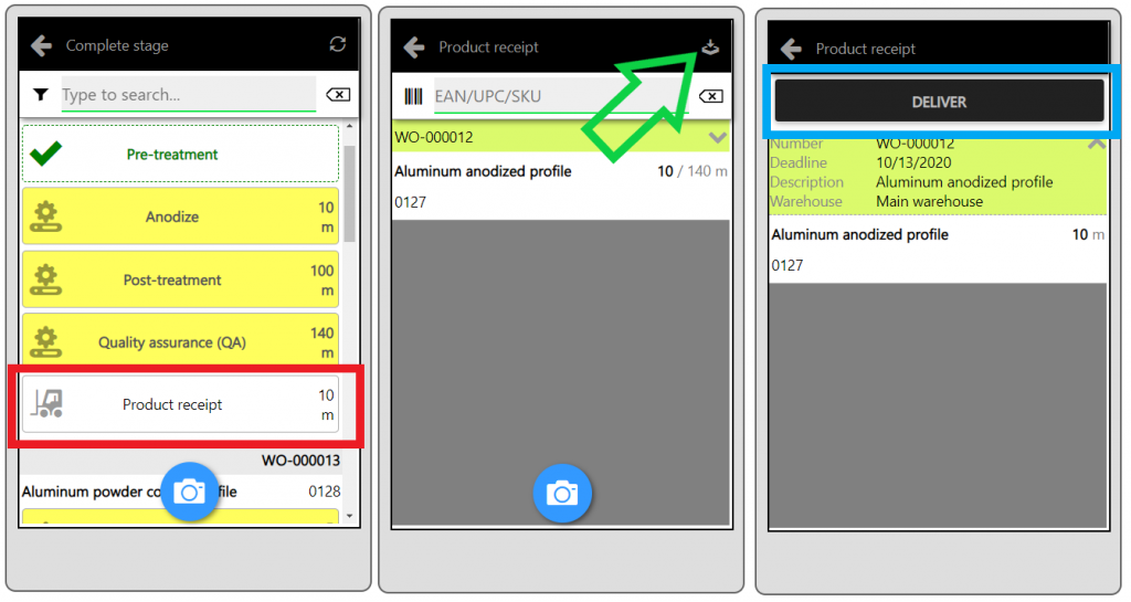 mobile app product receipt