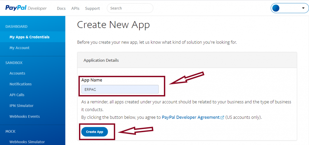 create new app in paypal