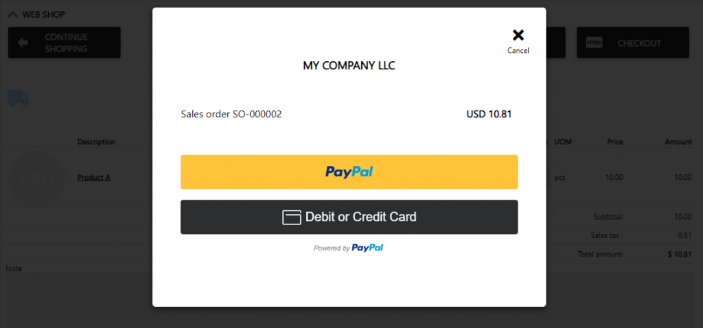 POS paypal payment