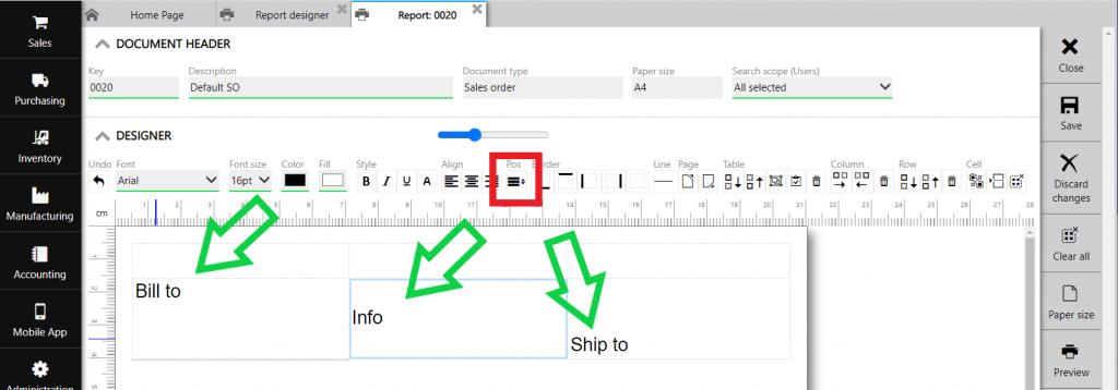 Repot designer : text vertical position