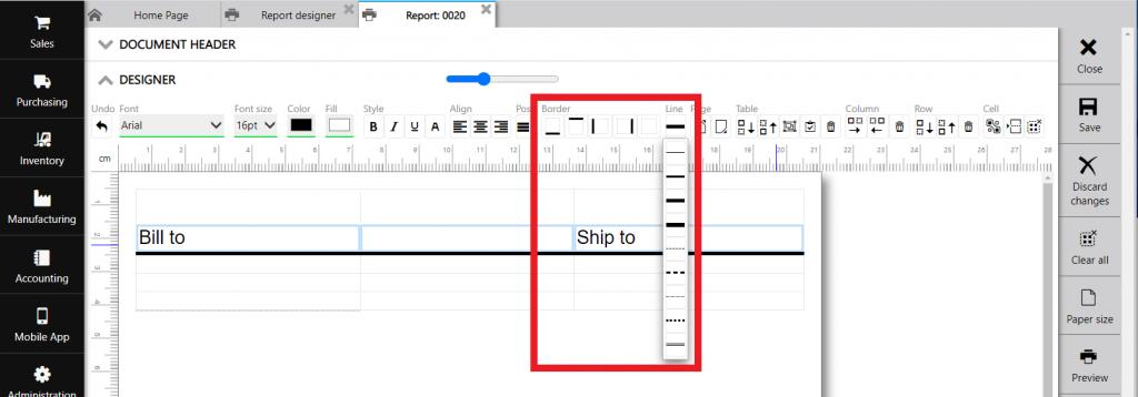 Repot designer: line type