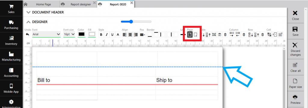 Repot designer: paper size
