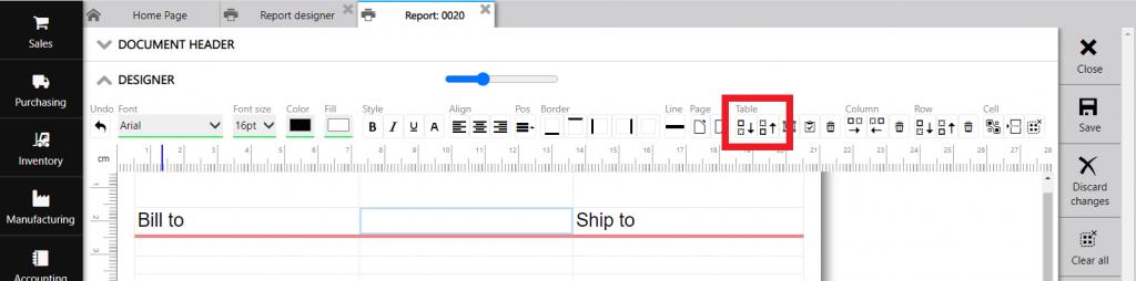 Repot designer : tabels