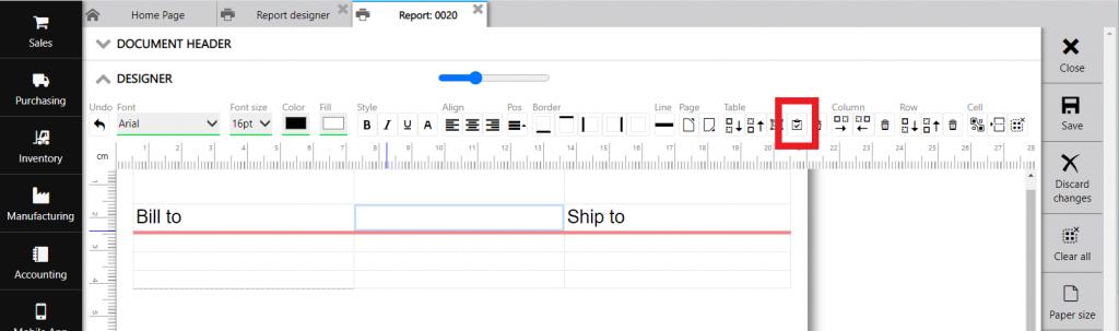 Repot designer: row line