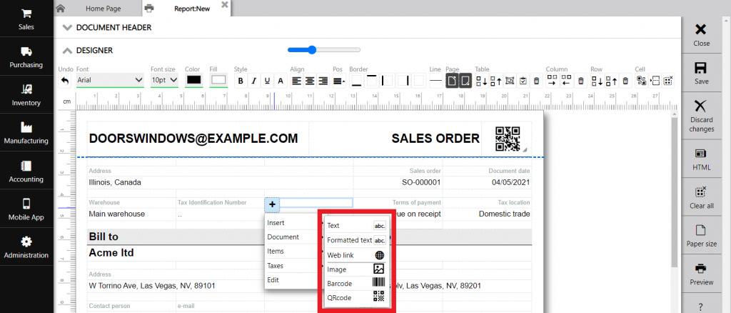 Repot designer : static data