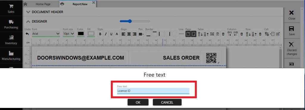 Repot designer: free text