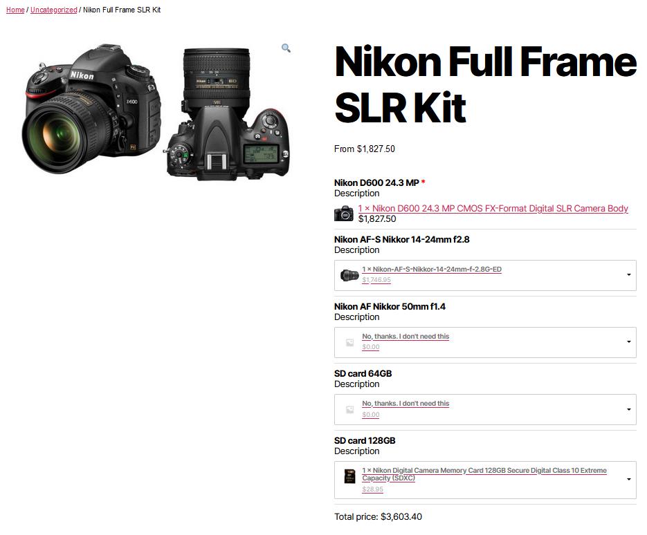 Full product name Nikon D600