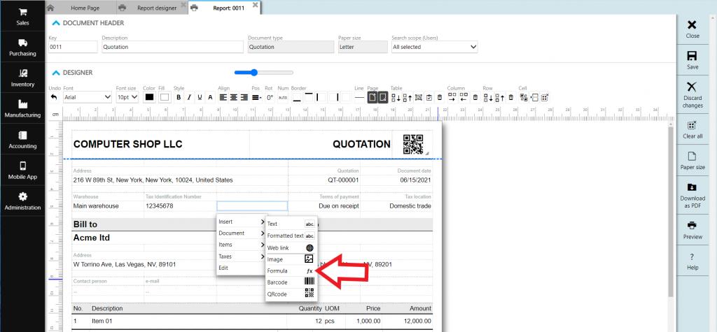 formula in report designer